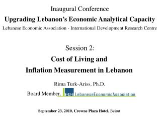 Session 2: Cost of Living and Inflation Measurement in Lebanon