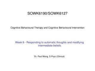 SOWK6190SOWK6127 Cognitive Behavioral Therapy and ...