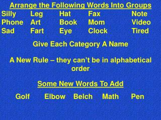 Mastermind the Following Words Into Groups