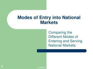 Methods of Entry into National Markets