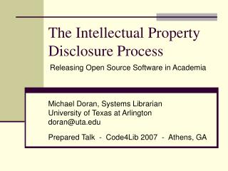 The Intellectual Property Disclosure Process