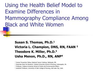 Utilizing the Health Belief Model to Examine Differences in Mammography Compliance Among Black and White Women