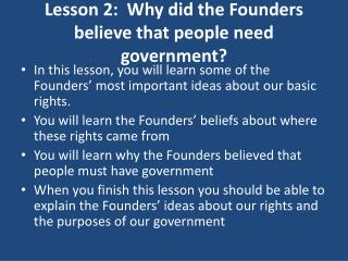 Lesson 2: Why did the Founders trust that individuals need government