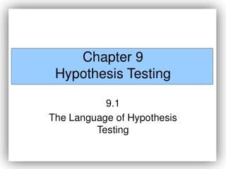 Part 9 Hypothesis Testing