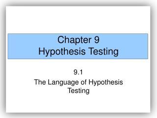 Part 9 Hypothesis Testing