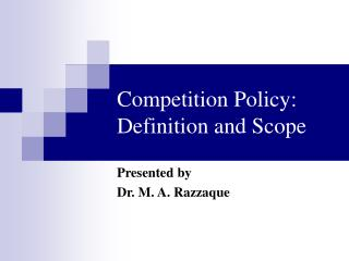 Rivalry Policy: Definition and Scope