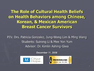 The Role of Cultural Health Beliefs on Health Behaviors among ...
