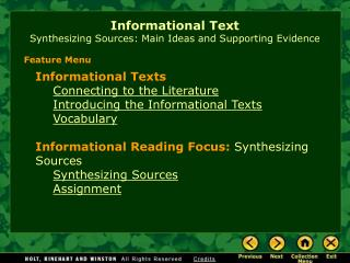 Instructive Text Synthesizing Sources: Main Ideas and Supporting Evidence