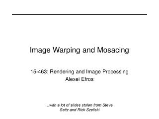 Picture Warping and Mosacing