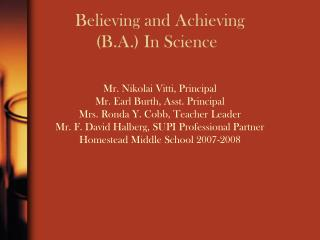 Trusting and Achieving B.A. In Science