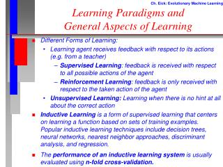 Learning Paradigms and General Aspects of Learning