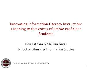 Enhancing Information Literacy Instruction: Listening to the Voices of Below-Proficient Students