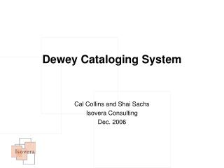 Dewey Cataloging System