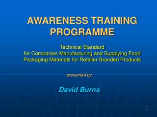 Mindfulness TRAINING Program Technical Standard for Companies Manufacturing and Supplying Food Packaging Materials for