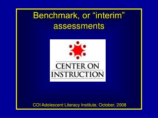 Benchmark, or interval evaluations COI Adolescent Literacy Institute, October, 2008