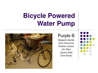 Bike Powered Water Pump