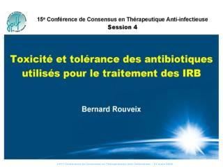 15 me Conf rence de Consensus en Th rapeutique Anti-Infectieuse 15 defaces 2006