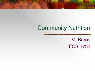 Group Nutrition