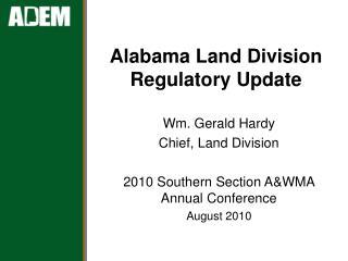 Alabama Land Division Regulatory Update