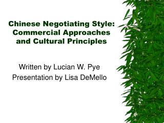 Chinese Negotiating Style: Commercial Approaches and Cultural Principles