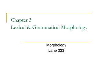 Section 3 Lexical Grammatical Morphology