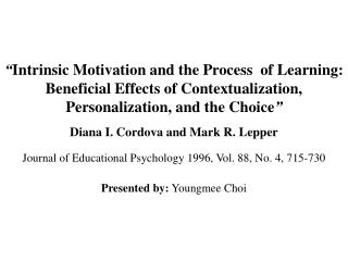 Inborn Motivation and the Process of Learning: Beneficial ...
