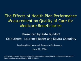 The Effects of Health Plan Performance Measurement on Quality of ...