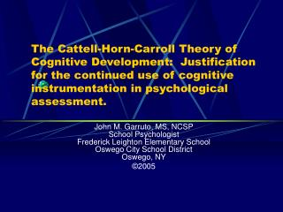 The Cattell-Horn-Carroll Theory of Cognitive Development ...