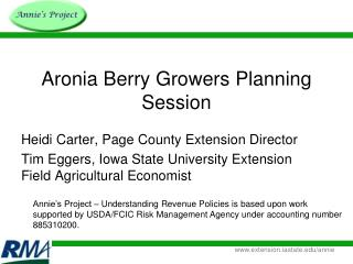 Aronia Berry Growers Planning Session