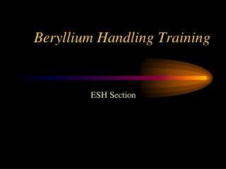 Beryllium Handling Training