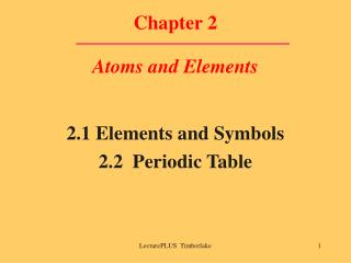 Part 2 Atoms and Elements