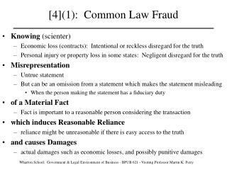 [4](1): Common Law Fraud