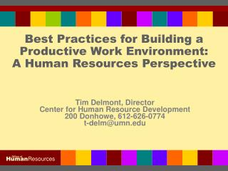 Best Practices for Building a Productive Work Environment: A Human Resources Perspective