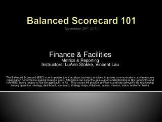 Adjusted Scorecard 101 November 29th, 2010