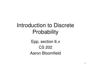 Prologue to Discrete Probability