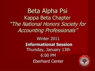 Beta Alpha Psi Kappa Beta Chapter The National Honors Society for Accounting Professionals