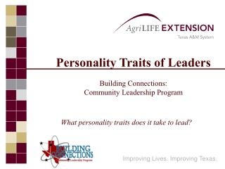 Identity Traits of Leaders Building Connections: Community Leadership Program