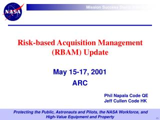 Danger based Acquisition Management RBAM Update