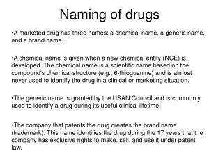Naming of medications