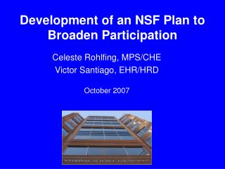 Improvement of a NSF Plan to Broaden Participation