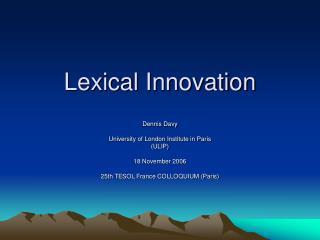Lexical Innovation