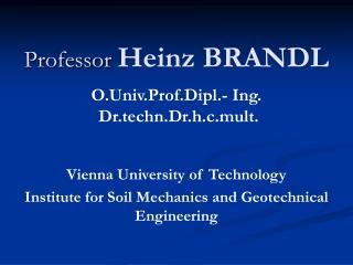 Teacher Heinz BRANDL