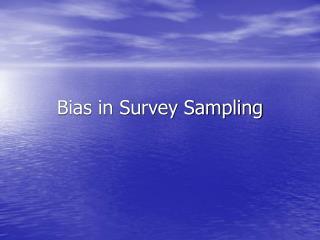 Predisposition in Survey Sampling