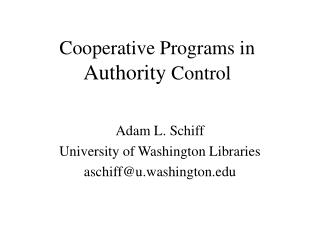 Helpful Programs in Authority Control