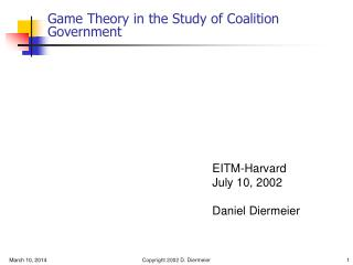 Amusement Theory in the Study of Coalition Government