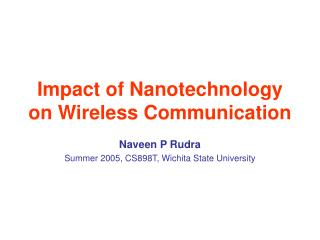 Effect of Nanotechnology on Wireless Communication