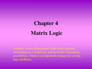 Section 4 Matrix Logic