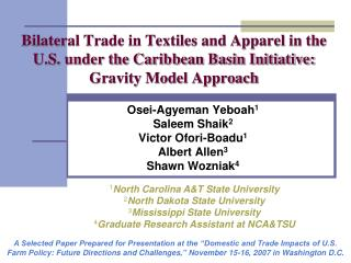 Respective Trade in Textiles and Apparel in the U.S. under the Caribbean Basin Initiative: Gravity Model Approach