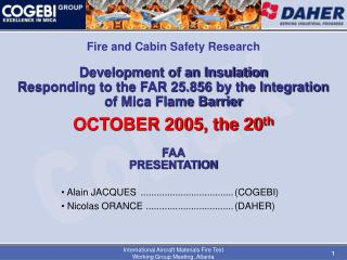 Advancement of an Insulation Responding to the FAR 25.856 by the Integration of Mica Flame Barrier OCTOBER 2005, th