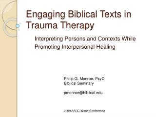 Connecting with Biblical Texts in Therapy
